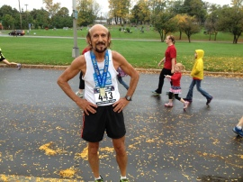 John Farah after a 23:47 finish in the 70-74 AG