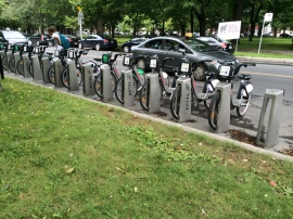 Bike share locations dotted throughout the city.