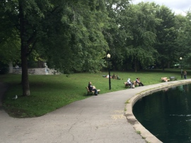 On an overcast day, Montrealers relax in the parc