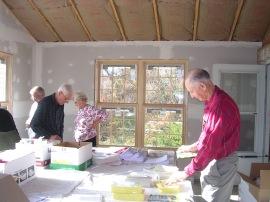 Charlie & friends preparing packets for 2006 Harrisburg Marathon