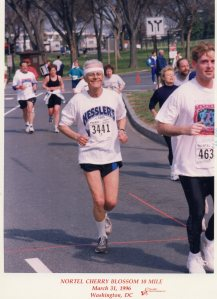 Charlie in bib#3441 enjoying the 1996 Cherry Blossom 10-Miler in D.C.