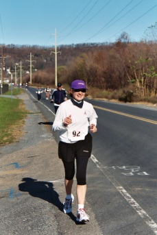 Harrisburg Marathon, my first marathon, 2003, on the only non-scenic mile of the course.