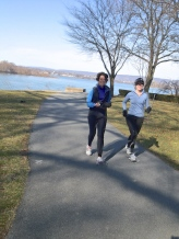 Everybody knows their names: Becky and Carol on a marathon training run.
