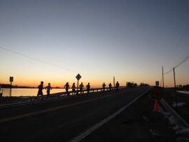 Sunrise start during mile 1 of LPM - Photo credit: Jeanne Larrison