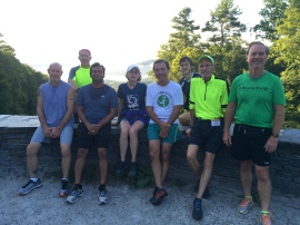 At the ridge overlooking Lake Mahkeenac with Chirunning cofounder Danny Dreyer and the early a.m. trail running group. Good company, great trail and a beautiful view.